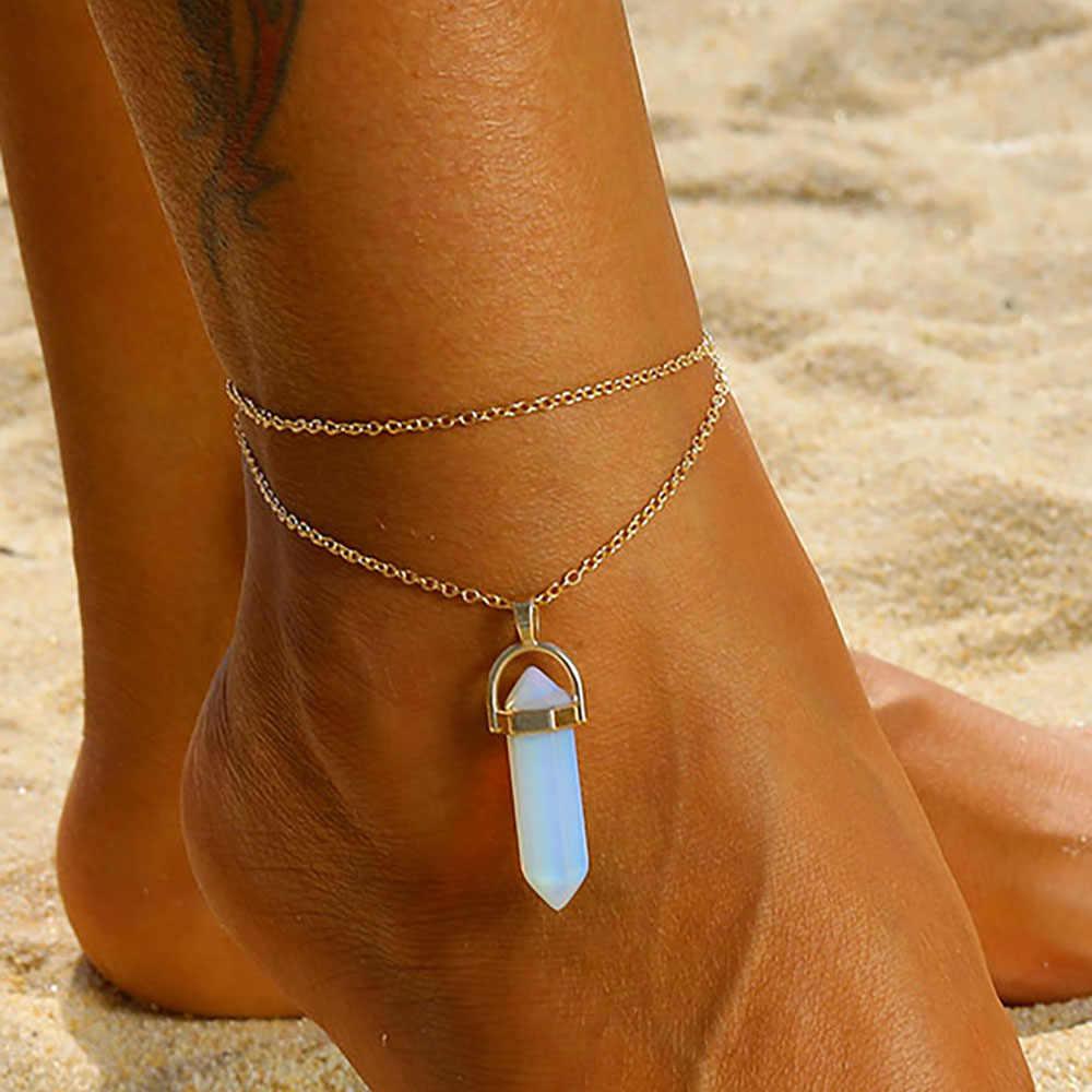 Модный богемский Опаловый ножной браслет, набор для женщин, новый золотой двойной цепной браслет, браслет 2019 ног Босиком