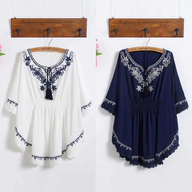 Summer Dress 2018 Fashion Floral Print Women White Dress Batwing O-Neck Bohemian Casual Boho Dresses Vestidos Plus Size Clothing