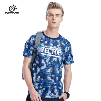 TECTOP Outdoors Running T-Shirts Men Summer Tops Slim Fit Sport Shirt Quick Dry breathable Hiking Absorb sweat shirt Male