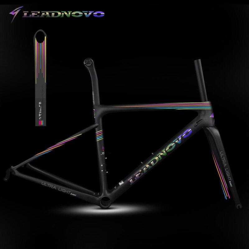 Cadre de route en carbone superlight arc-en-ciel UD mat brillant frein à disque frein normal Di2 mécanique taiwan course cadres de vélo