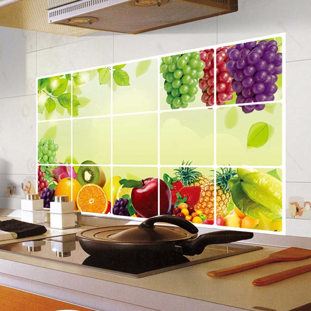 2017 kitchen fruit grapes removable wall stickers Anti oil stickers ...