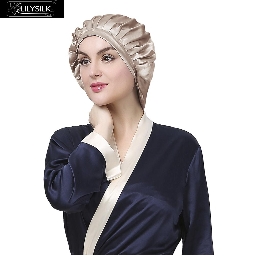 Lilysilk Women Sleep Caps Band Hats Hijab 100% Silk Satin Sleeping 19 mm Elegant Simple Adjustable Ribbon Frill Hair Care Night