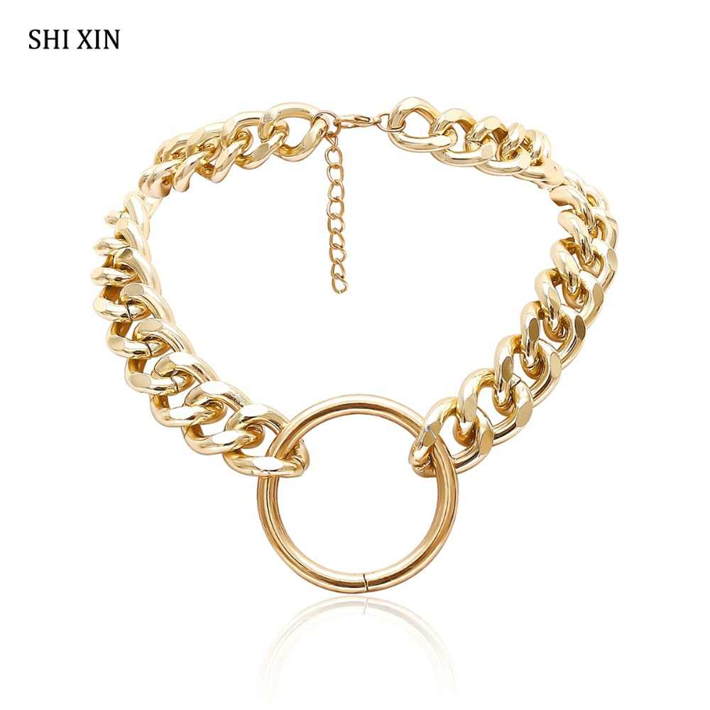 SHIXIN przesadzone Hip Hop kubański gruby Link choker łańcuszek naszyjniki dla kobiet moda biżuteria Hippie okrągły wisiorek Collier kobieta
