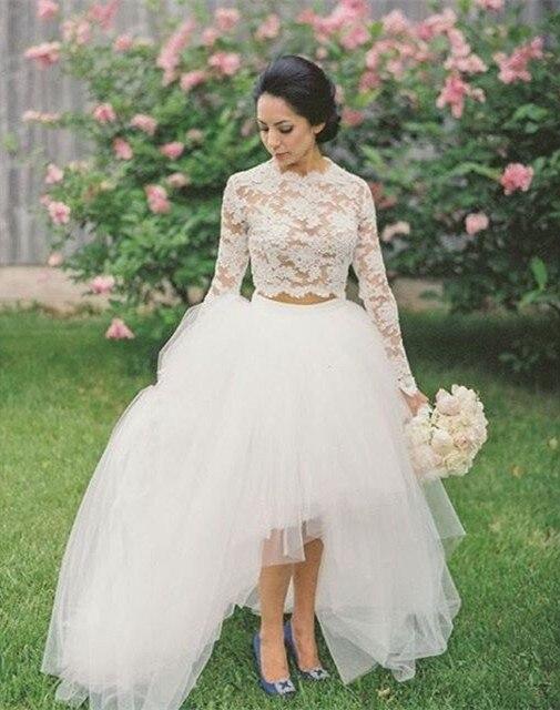 Robe De Mariage Vestido De Festa Longo 2019 New Arrival Two Piece Long Sleeve Wedding Dress High Low White Tulle Wedding Dresses