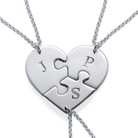 3 Pcs Best Friend Forever Necklace BFF Friendship for Three Personalized Initial Necklaces Heart Shape Jewelry Sterling Silver