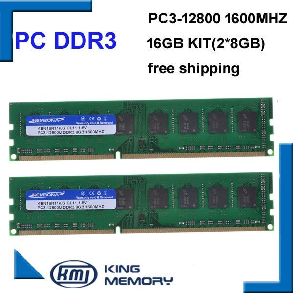 KEMBONA free shipping desktop DDR3 16gb 1600Mhz 16GB (Kit of 2,2X ddr3 8GB) PC3 12800 Brand New work longdimm desktop