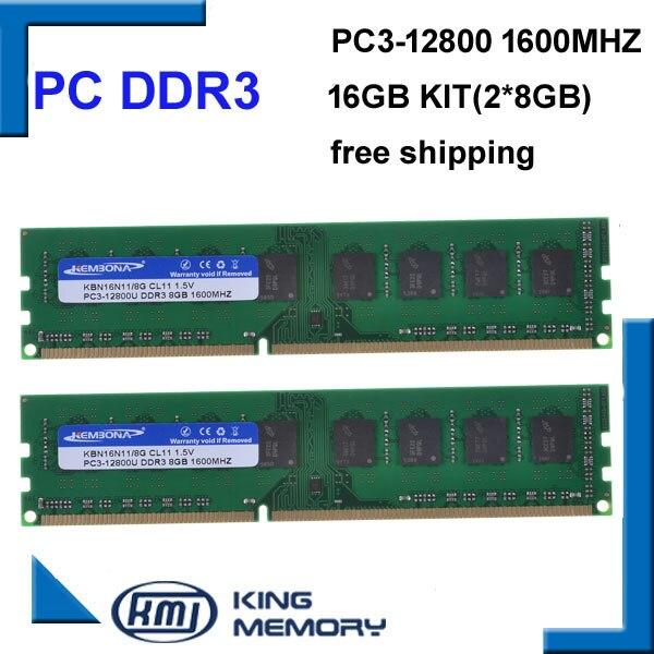 Kembona frete grátis desktop ddr3 16gb 1600 mhz 16gb (kit de 2, 2x ddr3 8 gb) PC3-12800 novo trabalho longdimm desktop