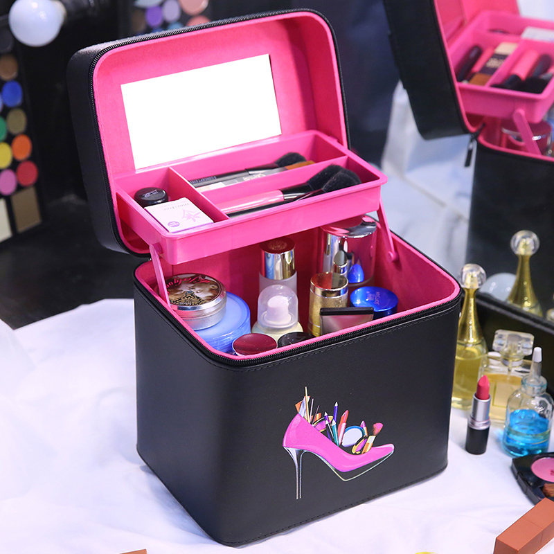 2018 hot selling Make up Box Double Layer Beauty Bag Case Large capacity Cosmetic Box for ladys gift Cutely Makeup bag Case large space beauty make up nail tech cosmetic box vanity case storage black