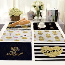 Nordic Kitchen Black Gold Heart Lips Letter Printed Place mats for Dining Table Accessories Pineapple Cat Stripe Bar Mat Coaster