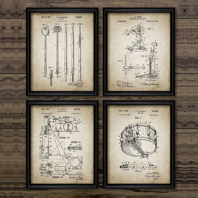 Drum Kit Patent Vintage Posters Print Drumstick Music Cymbal Drum Design Wall Art Canvas Painting Pictures Drummer Gift Idea