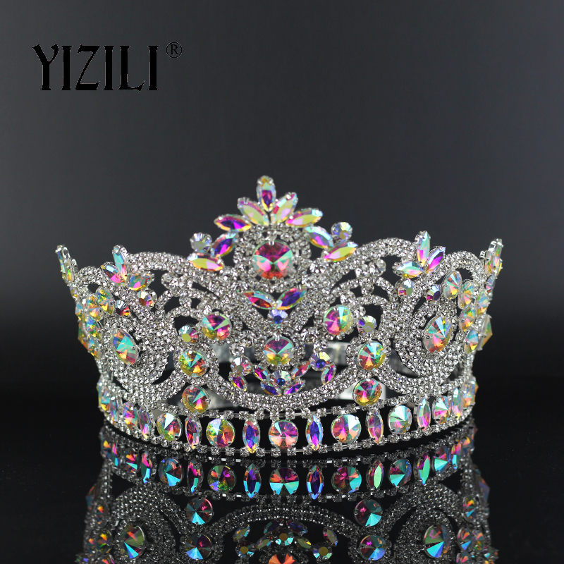 YIZILI New European Big Bride Wedding Crow AB Full Diamond Crystal Large Round Queen Crown Wedding