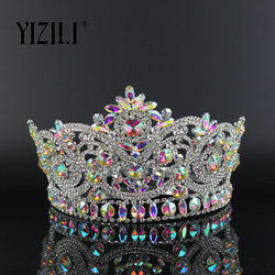 YIZILI New European Big Bride Wedding Crow AB Full Diamond Crystal Large Round Queen Crown Wedding Hair Accessories paty C060