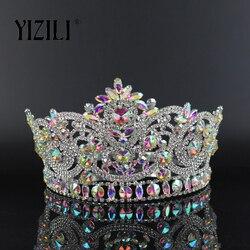 YIZILI Nieuwe Europese Grote Bruid Bruiloft Crow AB Volledige Diamond Crystal Grote Ronde Queen Kroon Bruiloft Haar Accessoires paty C060