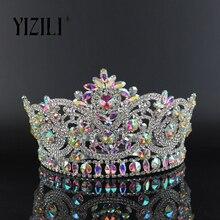 Yizili 새로운 유럽의 큰 신부 웨딩 크로우 ab 전체 다이아몬드 크리스탈 대형 라운드 퀸 크라운 웨딩 헤어 액세서리 paty c060