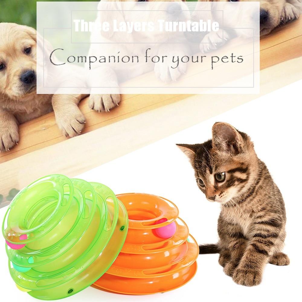Three Levels Tower Tracks Disc Cat Pet Toy Intelligence Amusement Rides Shelf Dog Cat Toys Training Amusement Trilaminar Ball