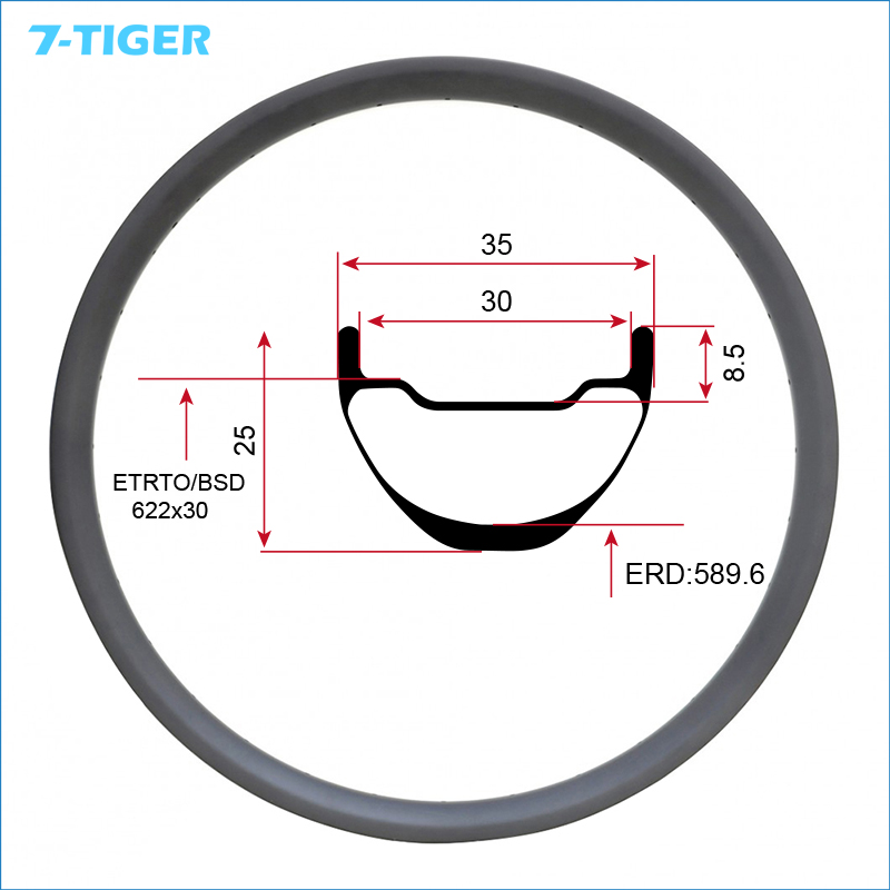 7 TIGER Hookless 29 ER 35mm Super Wide Carbon MTB Bike Rims Mountain Bicycle For AM