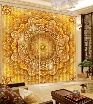 Blackout curtain golden curtains Beautiful Photo Fashion Customized 3D Curtains