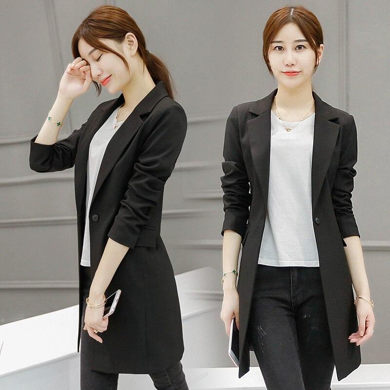 Ladies Blazers 2017 New Fashion Single Button Blazer Women Autumn Black Suit Jacket Female Plus Size Blazer Femme Y444