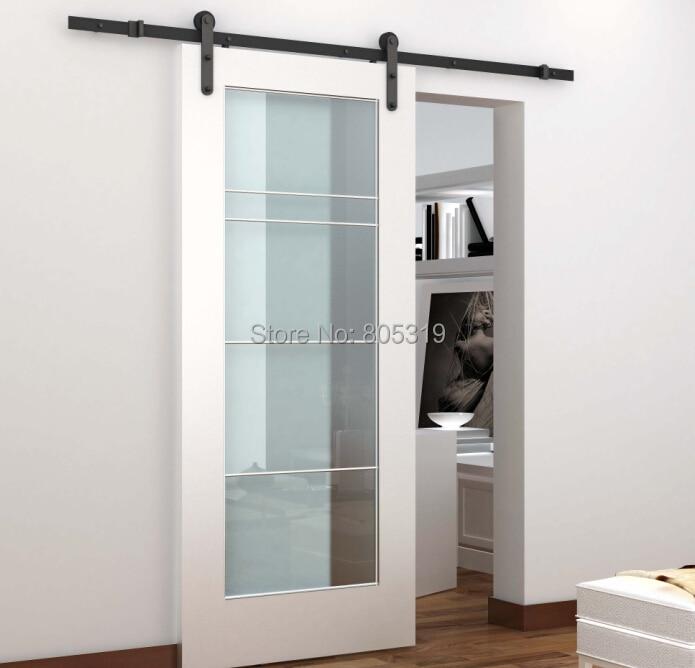 ✅5ft/6ft/6.6ft acero rústico negro puerta corredera granero Equipos ...