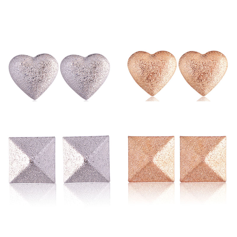 QIYIGE Fashion Zinc Earrings Rose&Sliver Color Heart And Square Shape For Women Wedding Jewelry Gifts