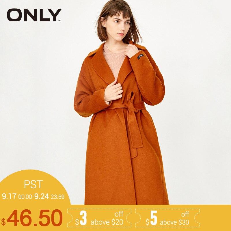 SOLO di Marca 2018 NUOVO contengono di lana doppio fronte di colore solido lungo di un disegno del tasto famale giacca cappotti 11736U511