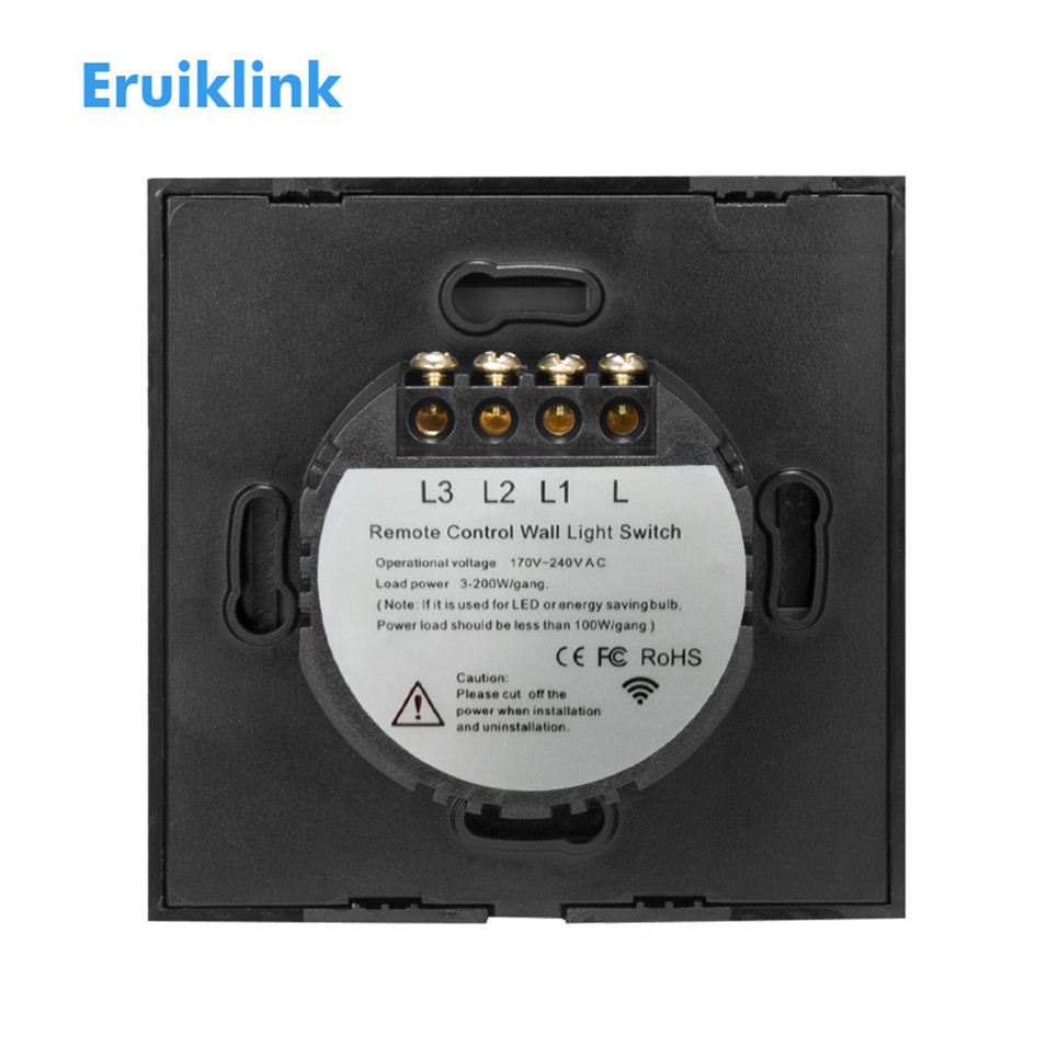 Eu Type Eruiklink Touch Remote Switch 3 Gang 1 Way Crystal Glass Single Light Wiring Panelsingle Firewire Wall Switchrf433 Control In Switches From Lights