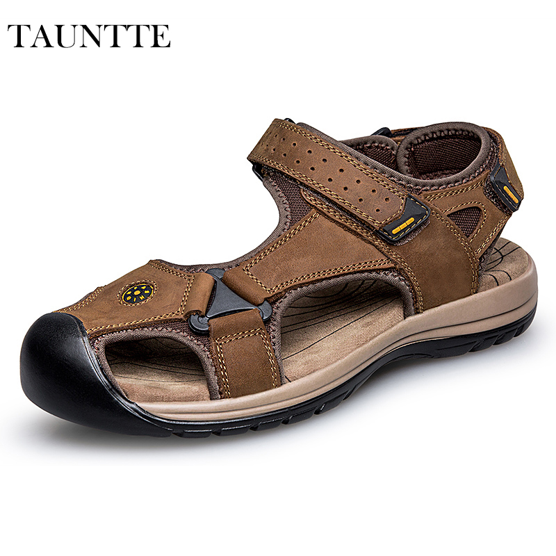 Tauntte Summer Genuine Leather Sandals Men Hook Beach Shoes Korean Anti-Odor Casual Shoes Plus Size camel men s outdoor anti collision toe cap cowhide casual beach sandals summer breathable river sandal male a622309222