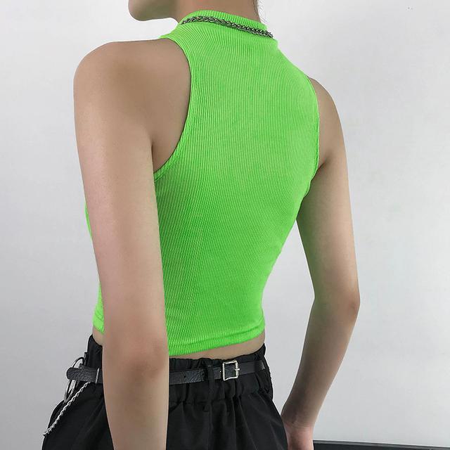 Waatfaak Streetwear verde neón de las mujeres Tank Top de traje Skinny Harajuku Bralette cultivo superior mujer ropa Tee Tops Sexy fiesta