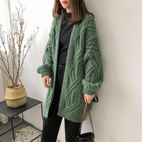 Autumn Winter Knitted Cardigans Coat Women 2019 Lantern Long Sleeve Batwing Sweater Beautiful Pure Oversized Thicken Cardigans