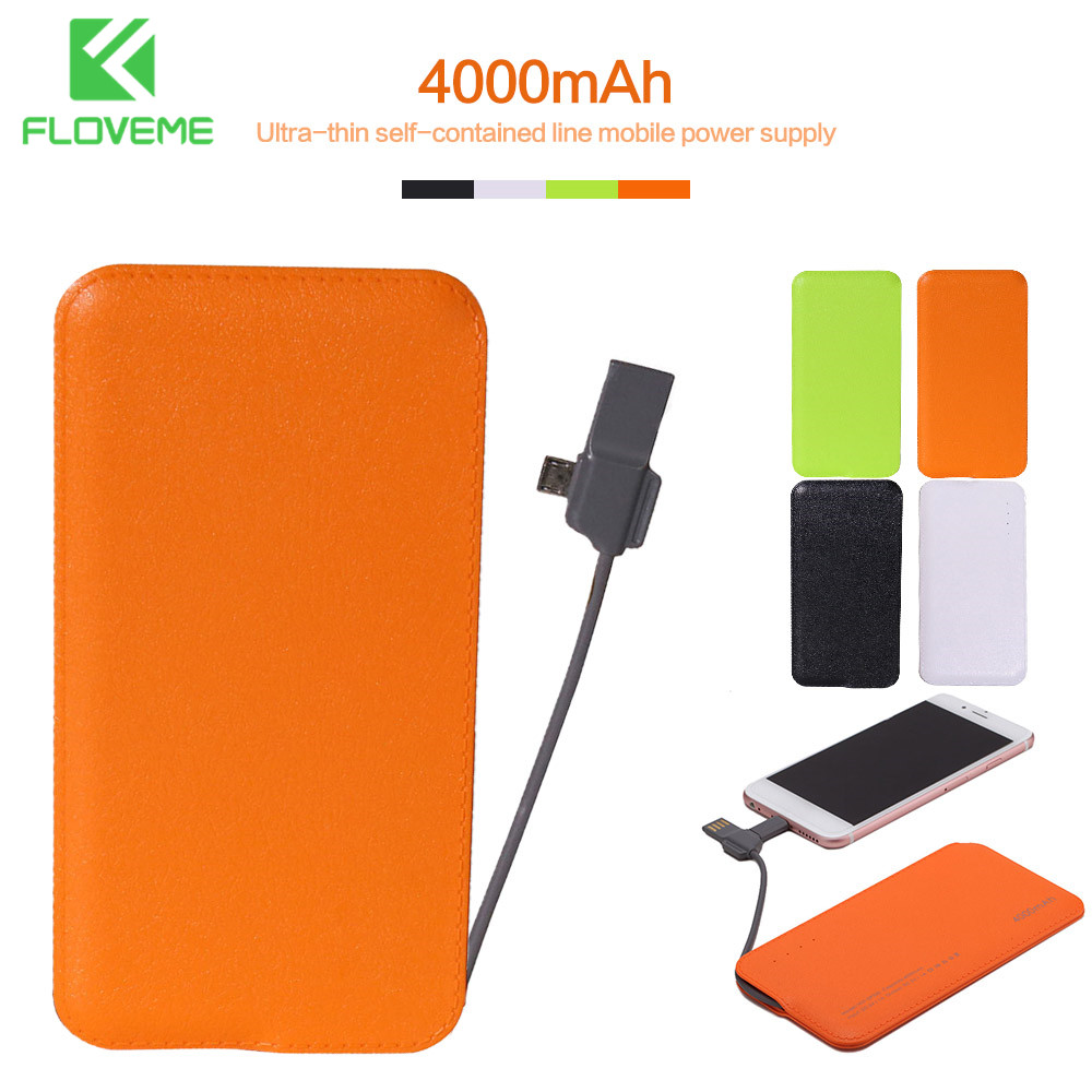 FLOVEME 4000mAh <font><b>Power</b></font> <font><b>Bank</b></font> Ultra Thin With Charge Line Batterie Externe Powerbank Portable Charger For iPhone <font><b>Xiaomi</b></font> Accessories image