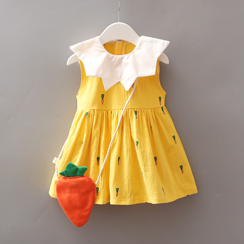 1-6Y Baby Girl Dress Summer Dresses A- Line Dress Cute Skirts Princess Dress White Birthday Dress Kids Girl Clothing with Carrot