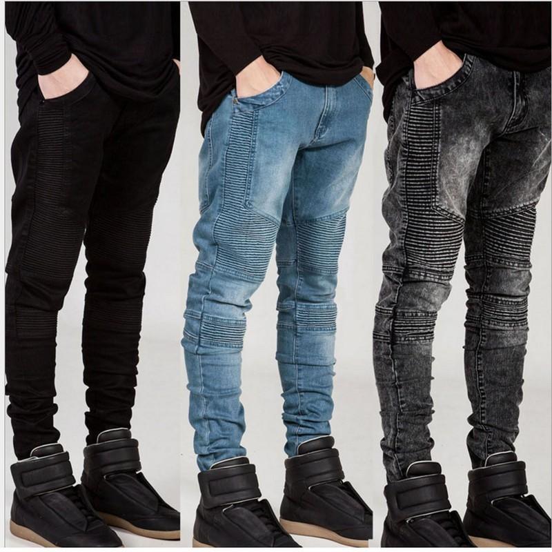 Уличный стиль мужские разорвал байкер джинсы Homme мужчины's мода мотоциклов Slim-подходят черный белый синий Мото джинсовые брюки бегунов узкие мужчины