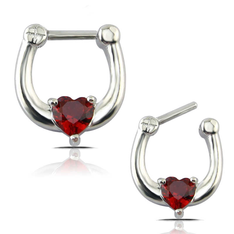 Surgical Nose Open Hoop Ring Red Heart Zircon Shaped Septum