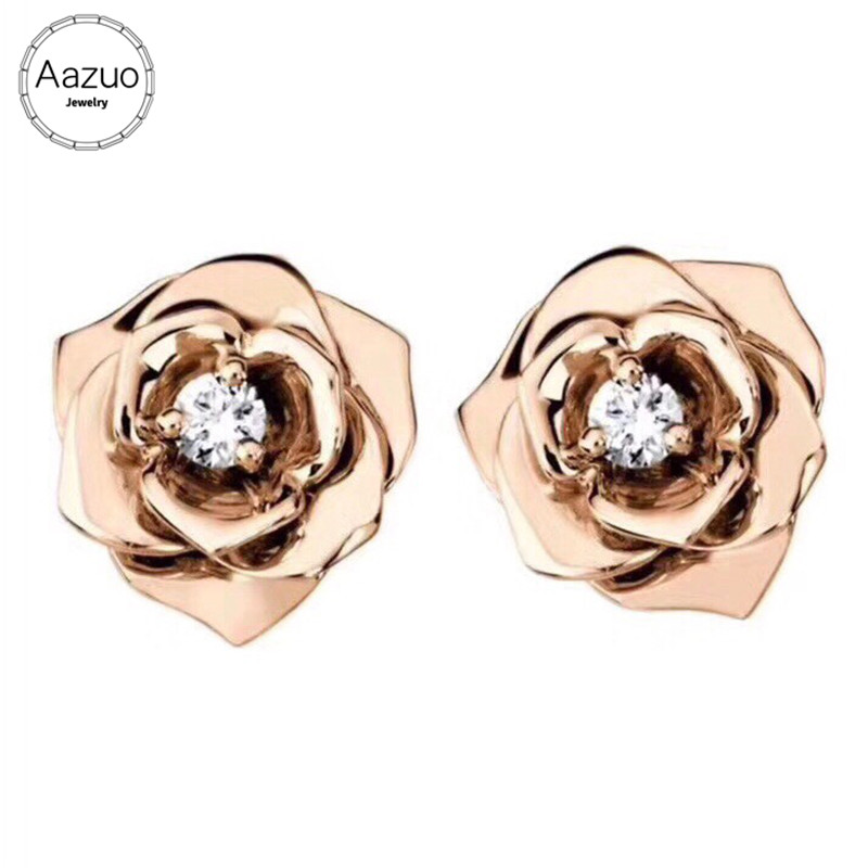 Aazuo Real 18K Rose Gold Real Diamonds Classic Romantic Rose Flower Stud Earrings gifted for Women