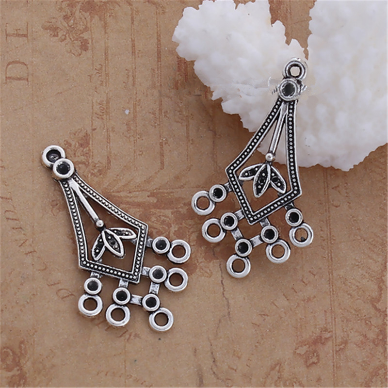 DoreenBeads Zinc Based Alloy Chandelier Connectors Leaf Clover Antique Silver Drop Style DIY Findings 39mmx 22mm( 7/8