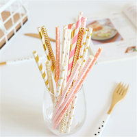 200pcs Gold Pink Silver Striped Paper Straws For Birthday Wedding Decorative Party Event Supplies Creative Drinking