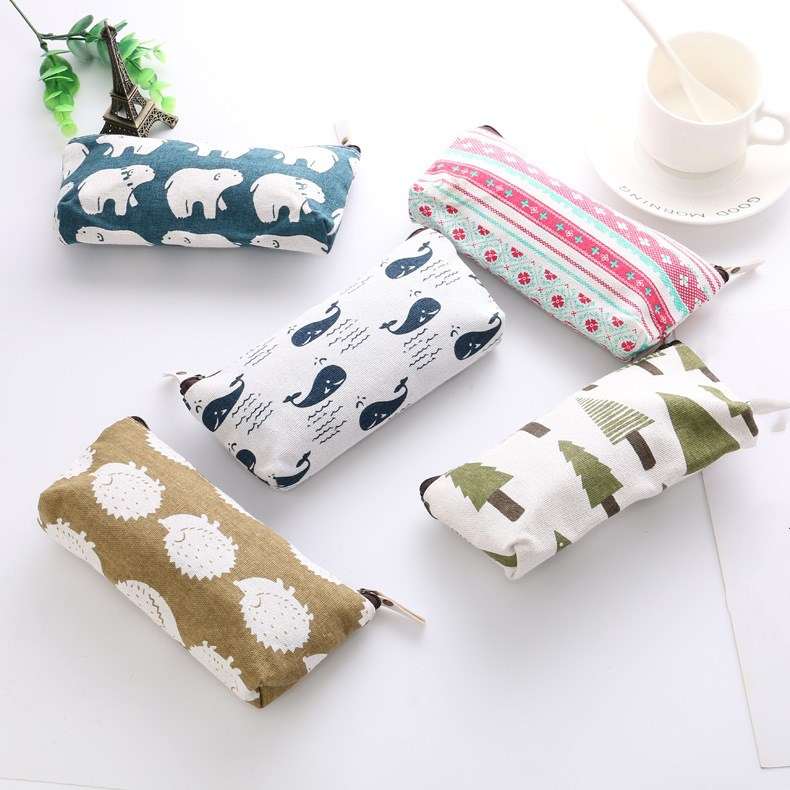 1 Pc Gift Pencil Bags Cute Animals Canvas Floral Polar Bear Tree Whale Lovely Pencils Case Stationery Pencil Bag School Supplies
