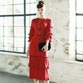 Runway dress 2017 de alta calidad primavera verano 3/4 mangas de la vendimia múltiples capas de cinturón de lazo plisado midi red dress vestidos plus tamaño