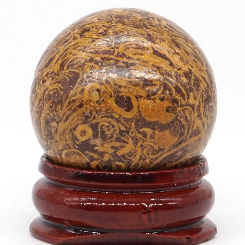 Natural Fossil Elephant Skin Jasper Ball Mineral Quartz Sphere Hand Massage Crystal Ball Healing Feng Shui Decor Accessory 30mm in Stones from Home Garden