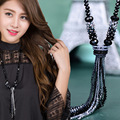 2017 New fashion crystal long tassel necklace black beads chain necklace gifts jewelry wholesale Free Shipping