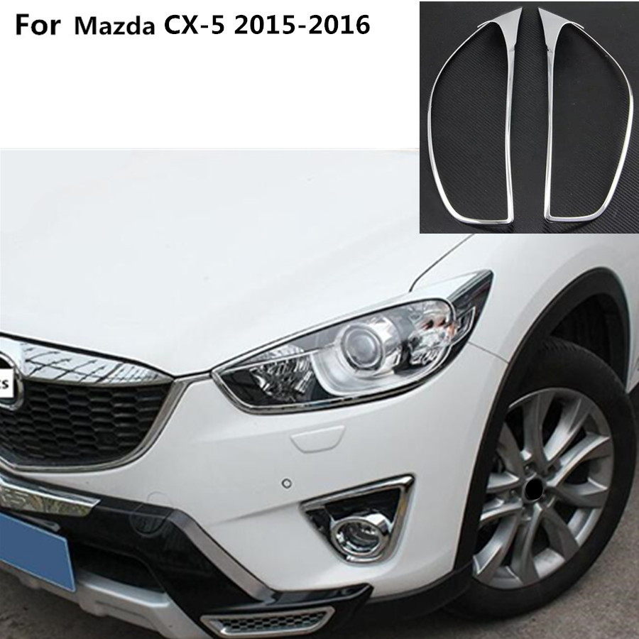 Car body front head Light lamp hood Molding frame stick ABS Chrome cover trim molding For Mazda CX-5 CX5 2013 2014 2015 2016
