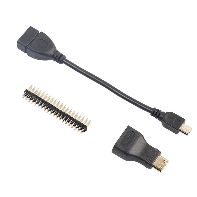 ALLOYSEED 3 In 1 Kit Mini HDMI To HDMI Micro USB Male To USB Female 40 Pin GPIO Header For Raspberry Pi Zero W 1.3 Connector Kit