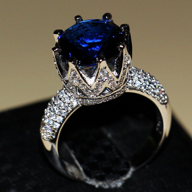 2016 New Fashion Jewelry 8ct Big Blue sapphire 925 sterling silver Simulated Diamond Wedding Crown Women Band Ring Size 5-11