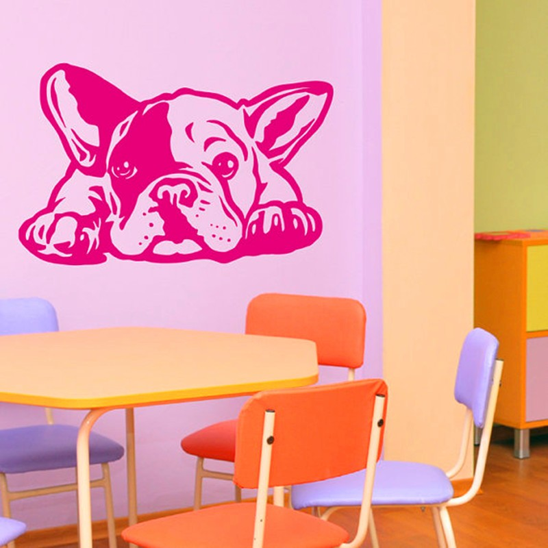 2016 new hot french bulldog dog wall decals vinyl wall for Autocollant mural francais