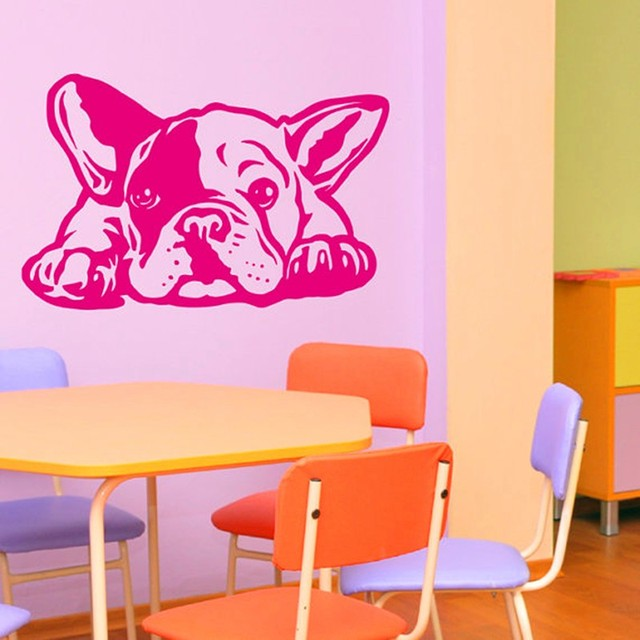 Removable Hot French Bulldog Dog Wall Decals Carving Wall Sticker ...