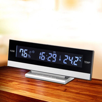 Large LCD Display Desktop Snooze Alarm Clock With Back Light Temperature Humidity Electronic Or Battery Operate