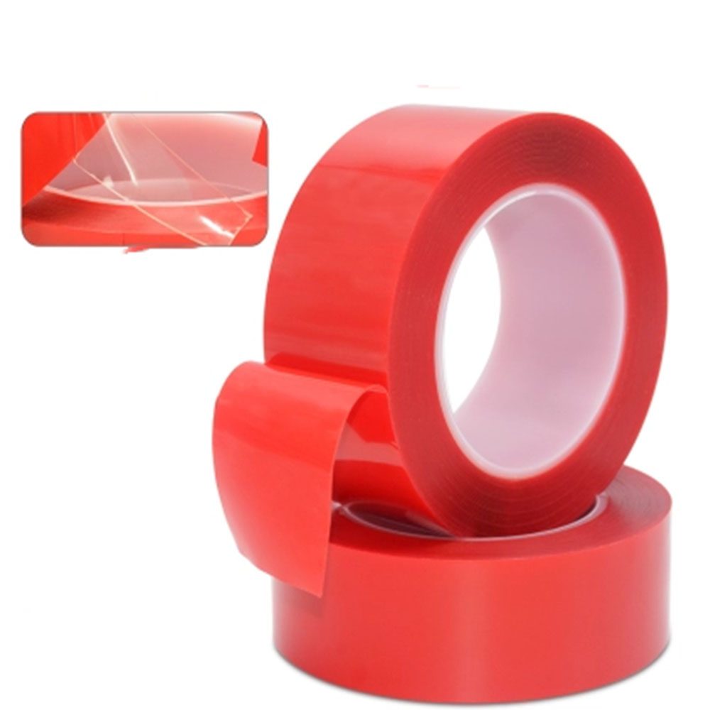 Red High Tack Tape Double Sided ultra Clear Tape 3mm 6mm 12mm Widths x 25m