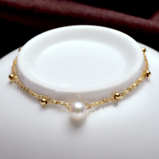 18k Gold Bracelet with White Akoya Pearl 1