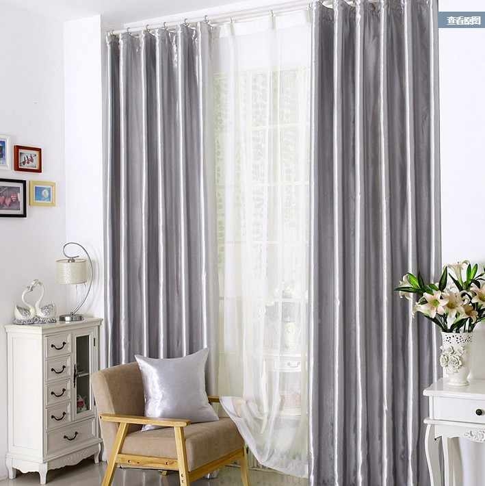 Curtains for bedroom living room processing cost included silver grey  modern fabric blackout cheap window cortinas1821