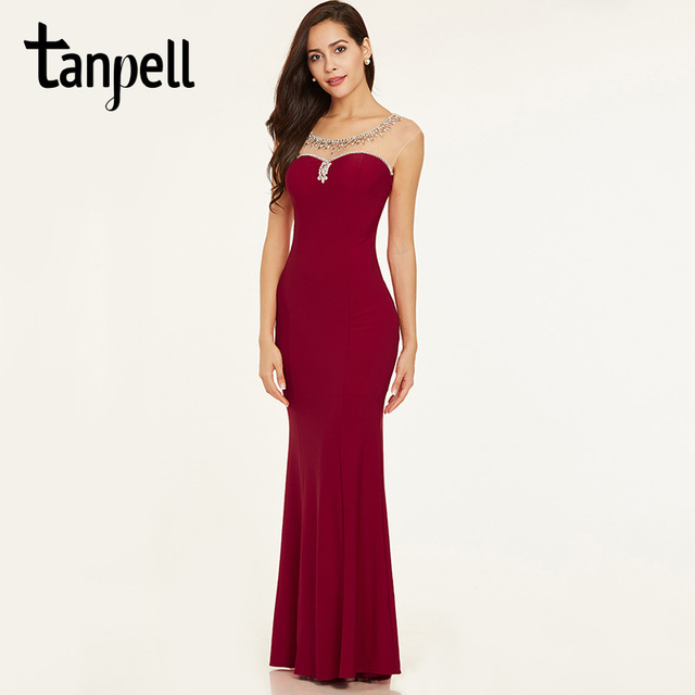 Tanpell beaded evening dress elegant red cap sleeves straight floor length  gown cheap women backless long formal evening dresses 510c74f42a7a